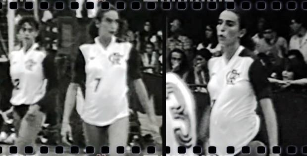 Isabel atuando pelo Flamengo com uma barriga de grávida proeminente (Foto: Reprodução TV Globo)